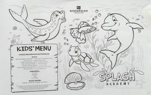 Norwegian Pearl kids menu all day voorkant