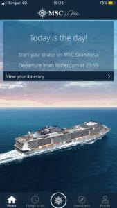 MSC Grandiosa MSC for Me app
